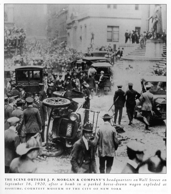 Scene outside J.P. Morgan & Company headquarters on Wall Street, following Sept. 16, 1920 bombing
